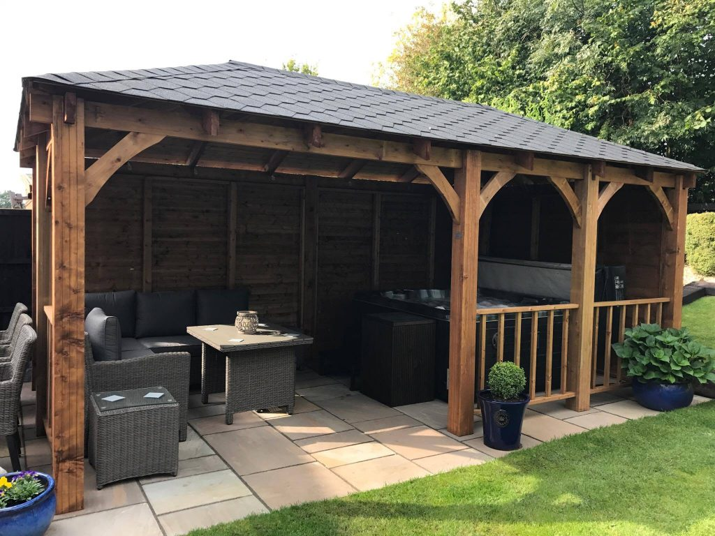 Gazebo from Dunster House with garden furniture and hot tub